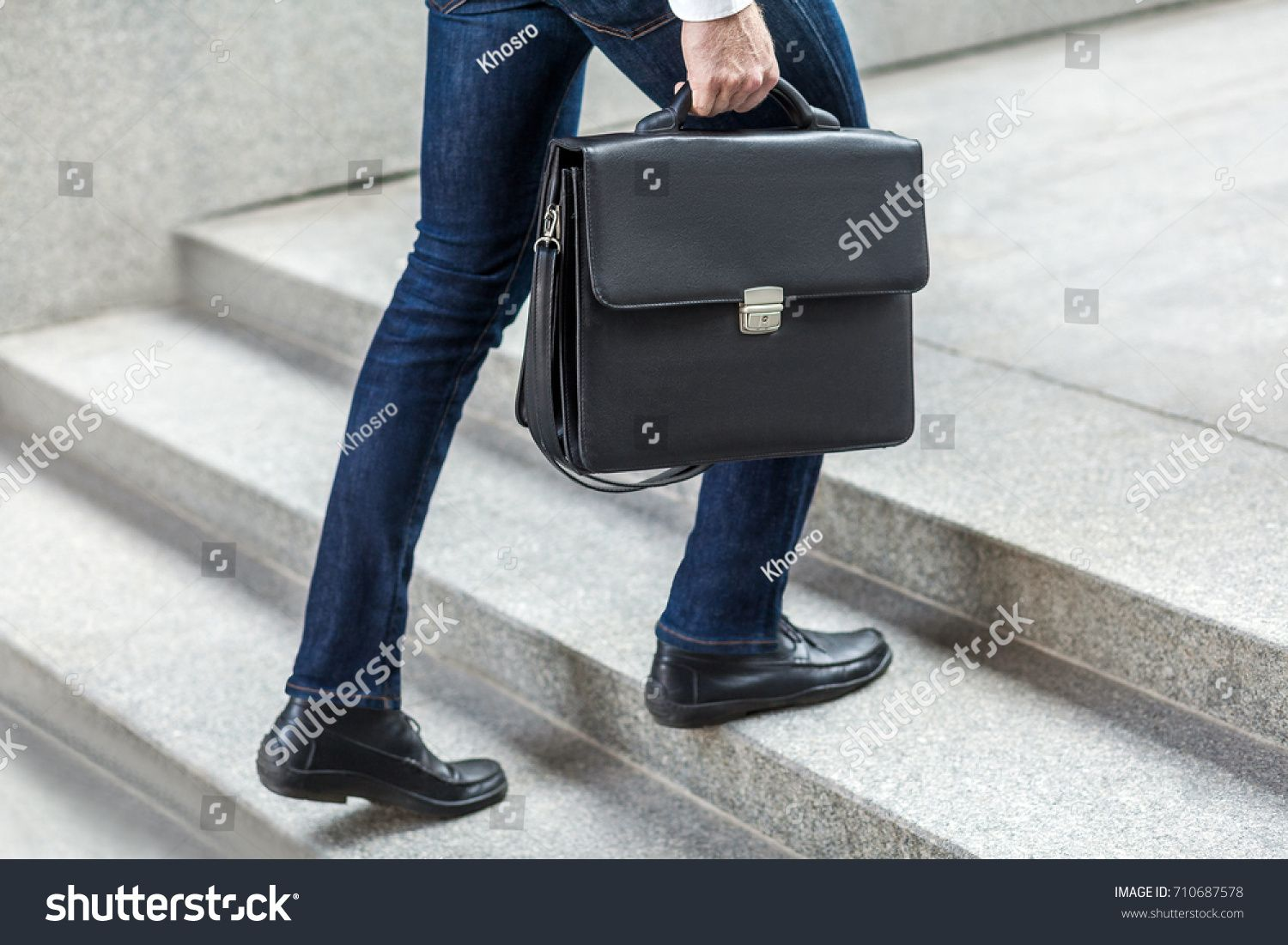 Focus On Bag Businessman With Briefcase In Hand Walking Up On Stairs Outdoorbusinessman Briefcase Focus Bag Briefcase Bags Leather Backpack