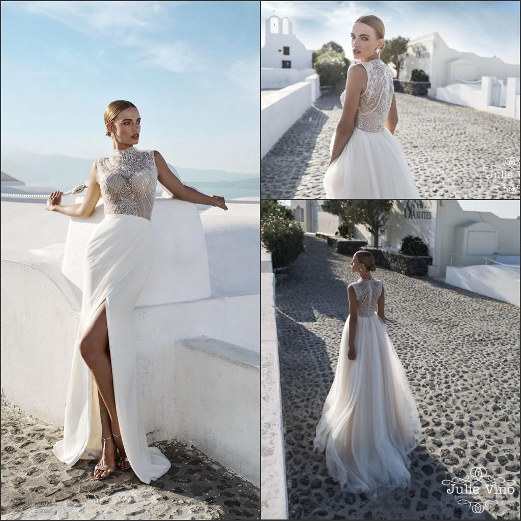 Cheap julie vino a line wedding dresses beaded high neck split