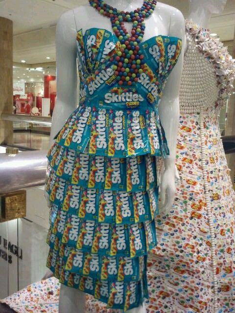 Skittle Wrapper Dress | Trashion | Recycled dress ...
