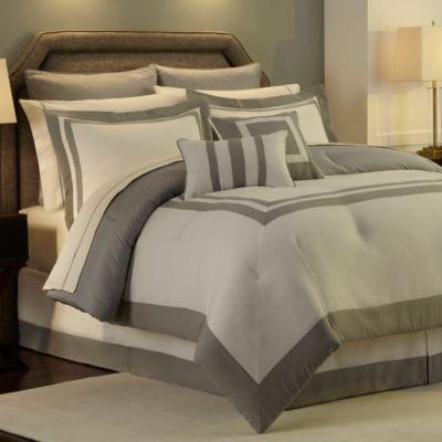 Hotel Reversible Comforter Set In Grey Bedbathandbeyond Com