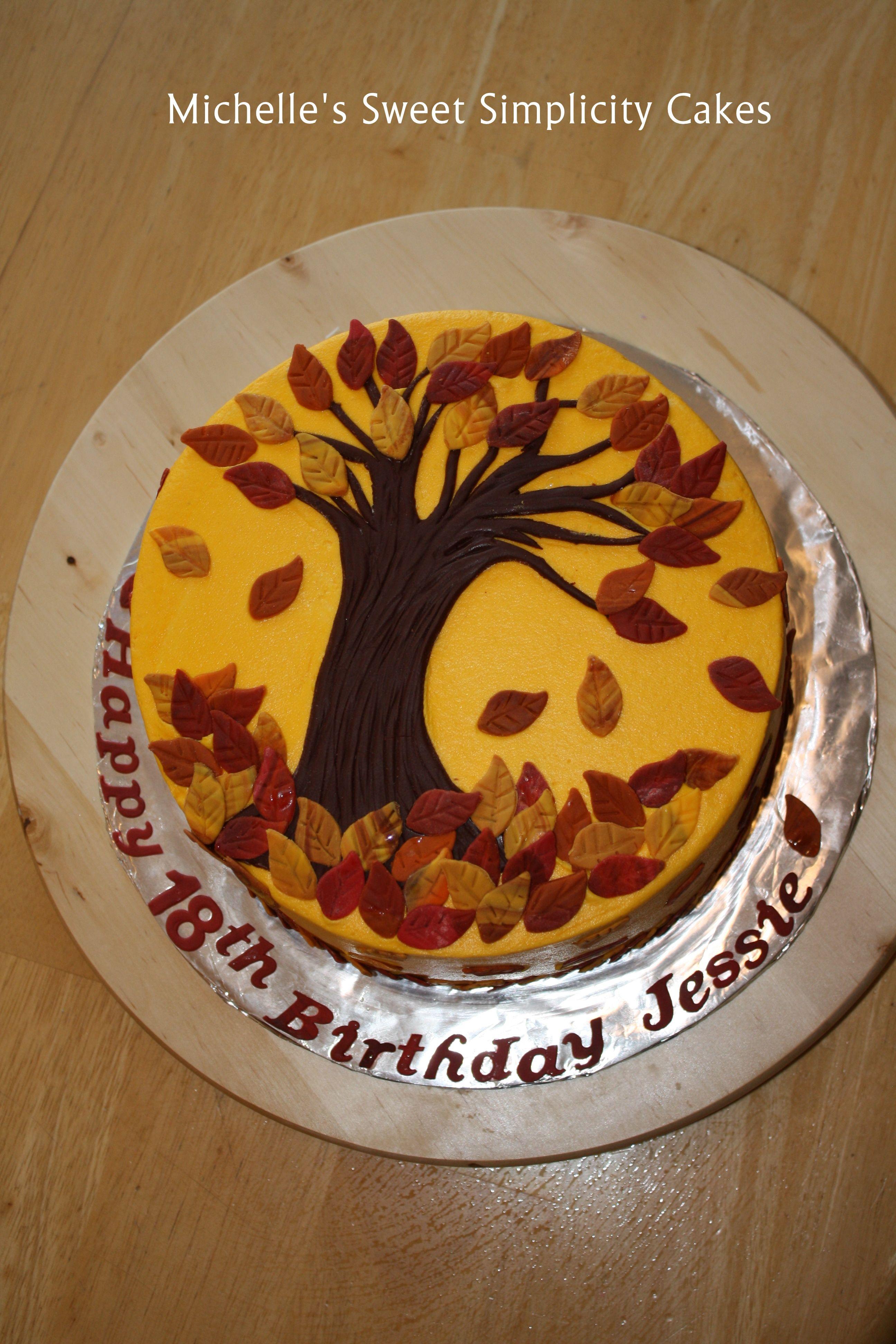 Fall Leaves Birthday Cake