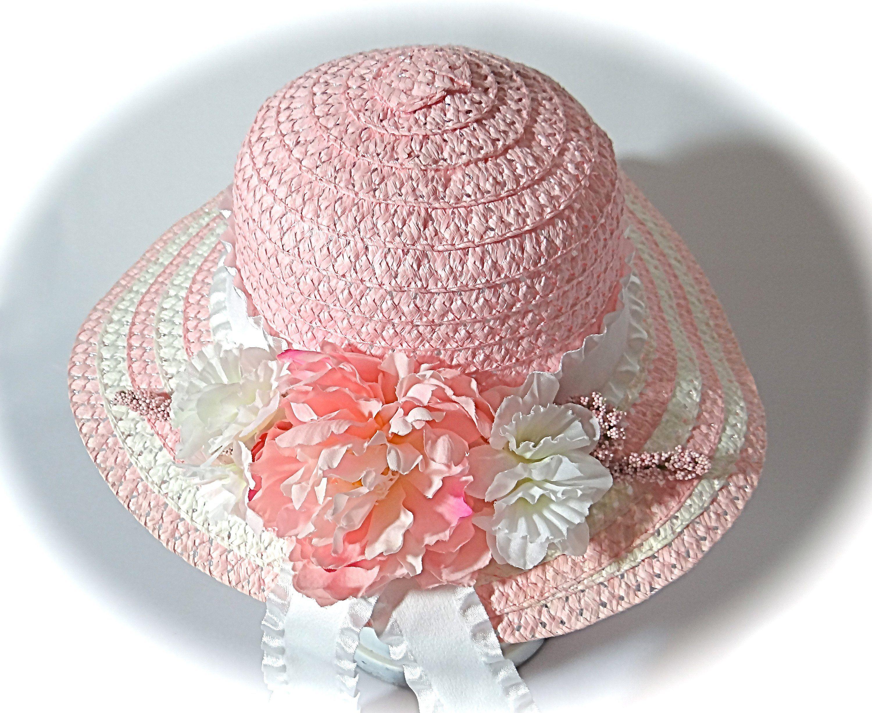 Girl S Easter Bonnet Tea Party Hats Pink Flower Girl Etsy Girls Easter Bonnet Tea Party Hats Easter Bonnet