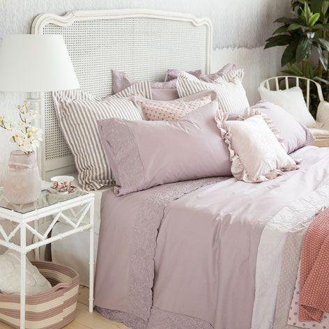 bettw sche aus perkal mit stickerei in lila bettw sche schlafen zara home deutschland. Black Bedroom Furniture Sets. Home Design Ideas
