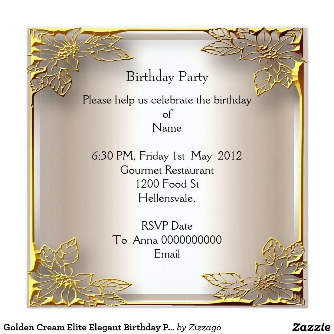 Invitación Fiesta De Cumpleaños Elegante De La élite Poner