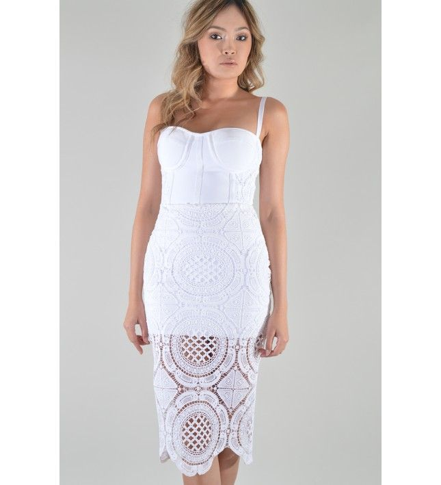 aace0eb100 Lovemystyle Crochet Panel Midi Dress In White