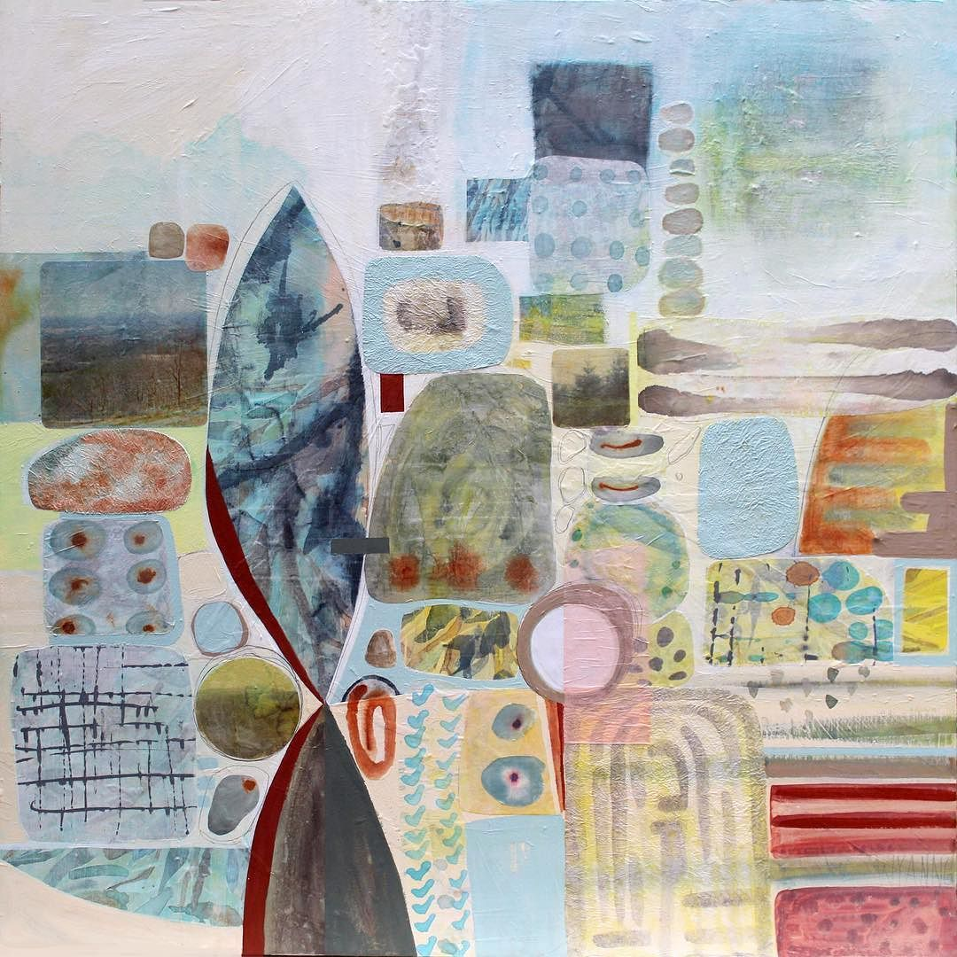 """""""Life Well Lived"""". 36x36. Watercolor Acrylic rice paper on wood. Vintage images reproduced on rice paper."""