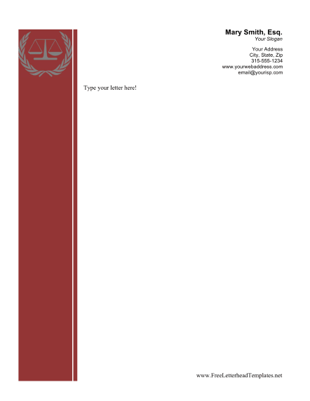 This printable legal letterhead has a maroon sidebar and a picture ...