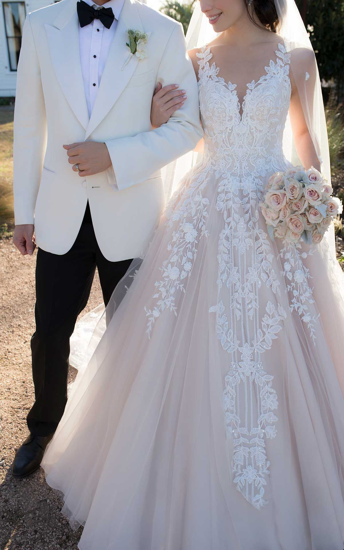 Ballgown Wedding Dress with Botanical Lace - Marti