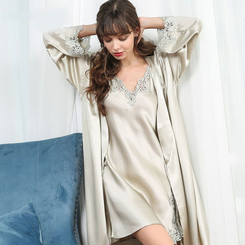 19 Momme Silk Nightgown Robe Set with Flower Trimming  c2e318cbf