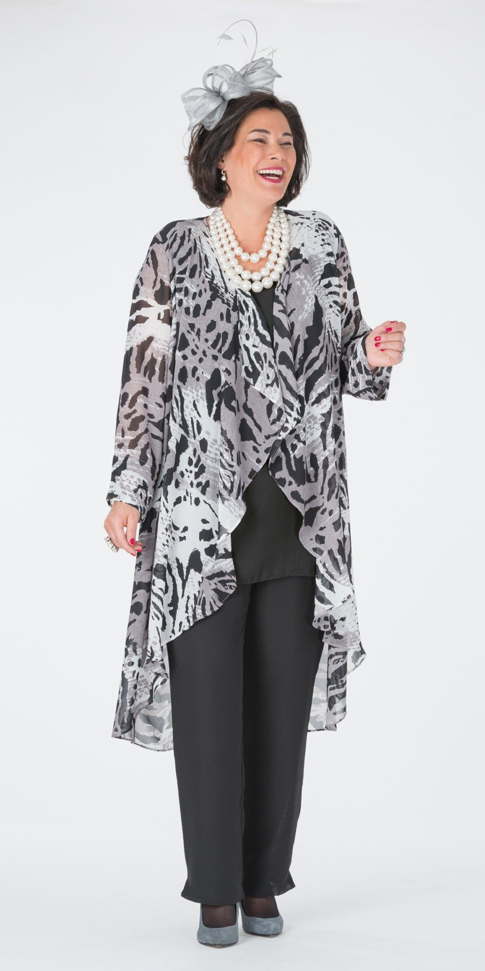 Box 2 Black Grey Chiffon Print Coat Vest And Trouser At Box 2 Vestido Para Gorditas Vestidos De Elegancia Vestidos Fiesta Tallas Grandes