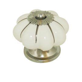 Bouton De Meuble Ceramique Colours Roza Blanc Argente Brilliant O40 Mm Bouton De Meuble Ceramique Blanc