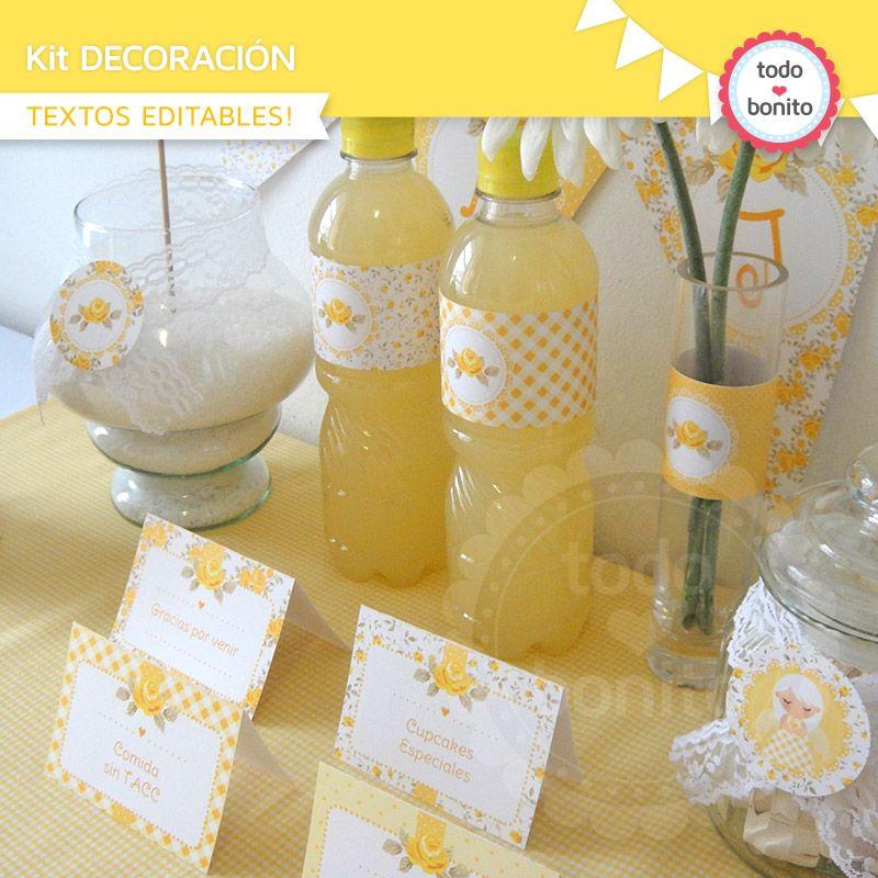 decoracion primera comunion amarillo