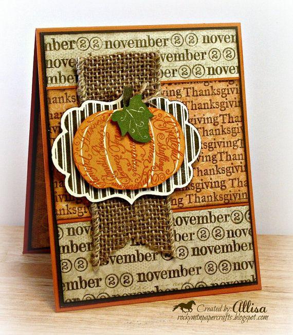 Thanksgiving Fall Pumpkin Card by RockyMtnPaperCrafts on Etsy, $2.95