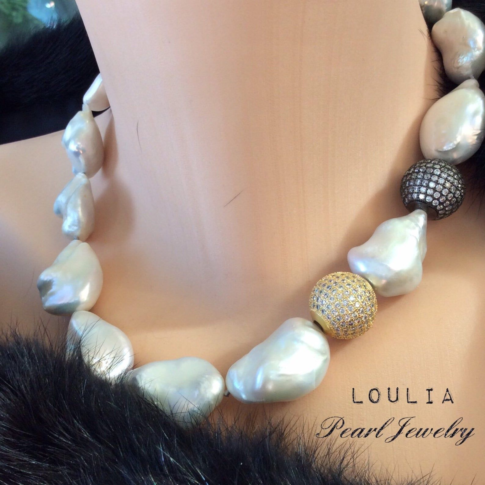 Marvellous Large Baroque Pearl Necklace Bridal Jewelry White Baroque Pearls Bridal Jewelry Wedding Necklace Cz Paved Spacers Pearl Bridal Jewelry Bridal Jewelry Bridesmaid Necklace