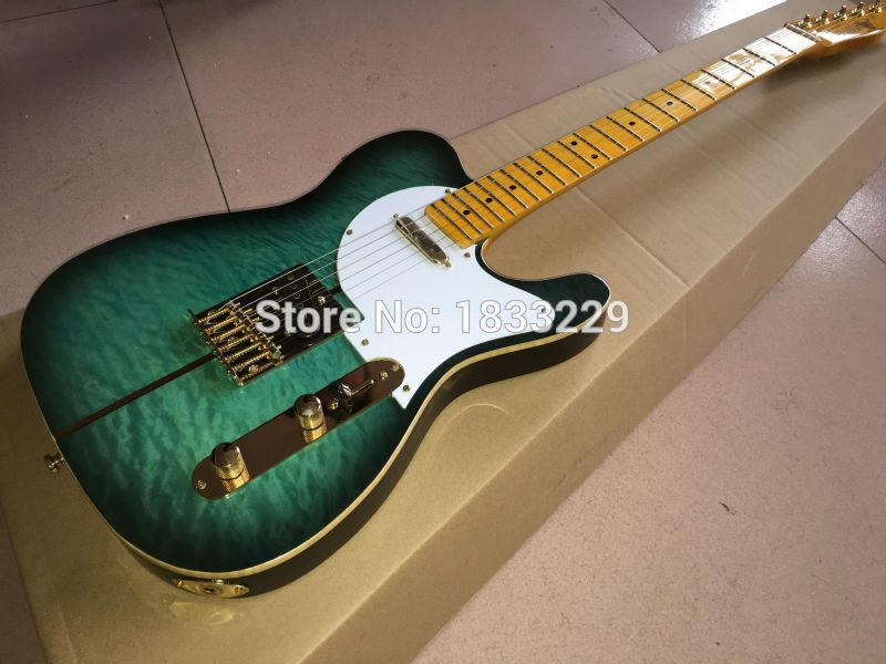 $259.00 (Buy here: http://appdeal.ru/dscw ) Custom Shop TL Electric Guitar Merle Haggard Signature Tuff Dog - Excellent Quality tiger maple neck SUPER RARE,Green color for just $259.00