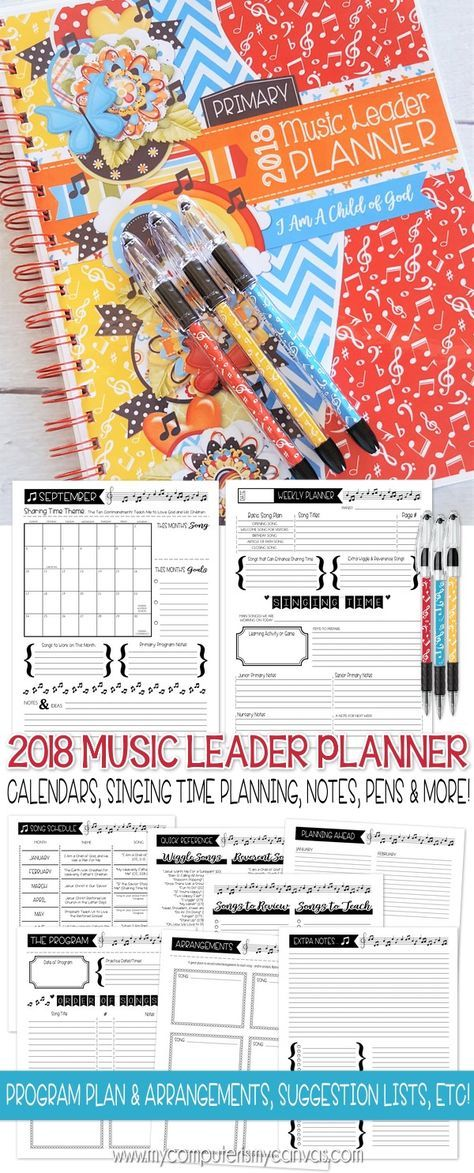 2018 PRINTABLE planner and planning pages for Primary Music Leaders ...
