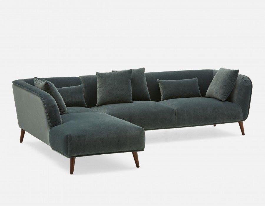 Delano Left Facing Sectional Sofa Charcoal Modern Sofa