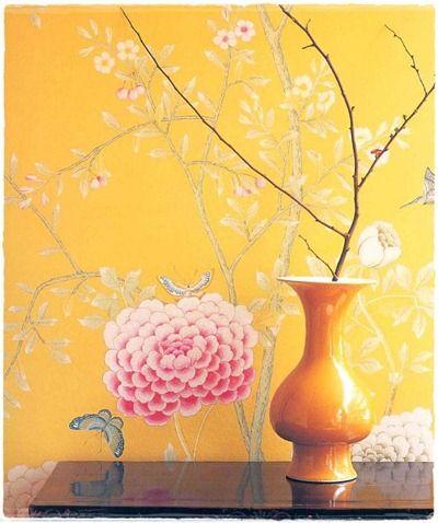 Yellow Chinoiserie Wallpaper De Gourney
