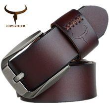 e3f78217570 Cowather estilo vintage pin hebilla de vaca cinturones de cuero genuino  para los hombres 130 cm de alta calidad para hombre de la correa cinturones  hombre ...
