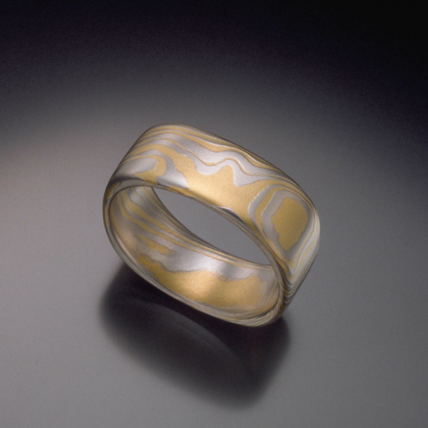 The TERRA SQUARE Platinum And Gold Mokume Gane Wedding Band Is Bold Sophisticated Flowing Organic Patterns Makes It Look Like Was Shaped In