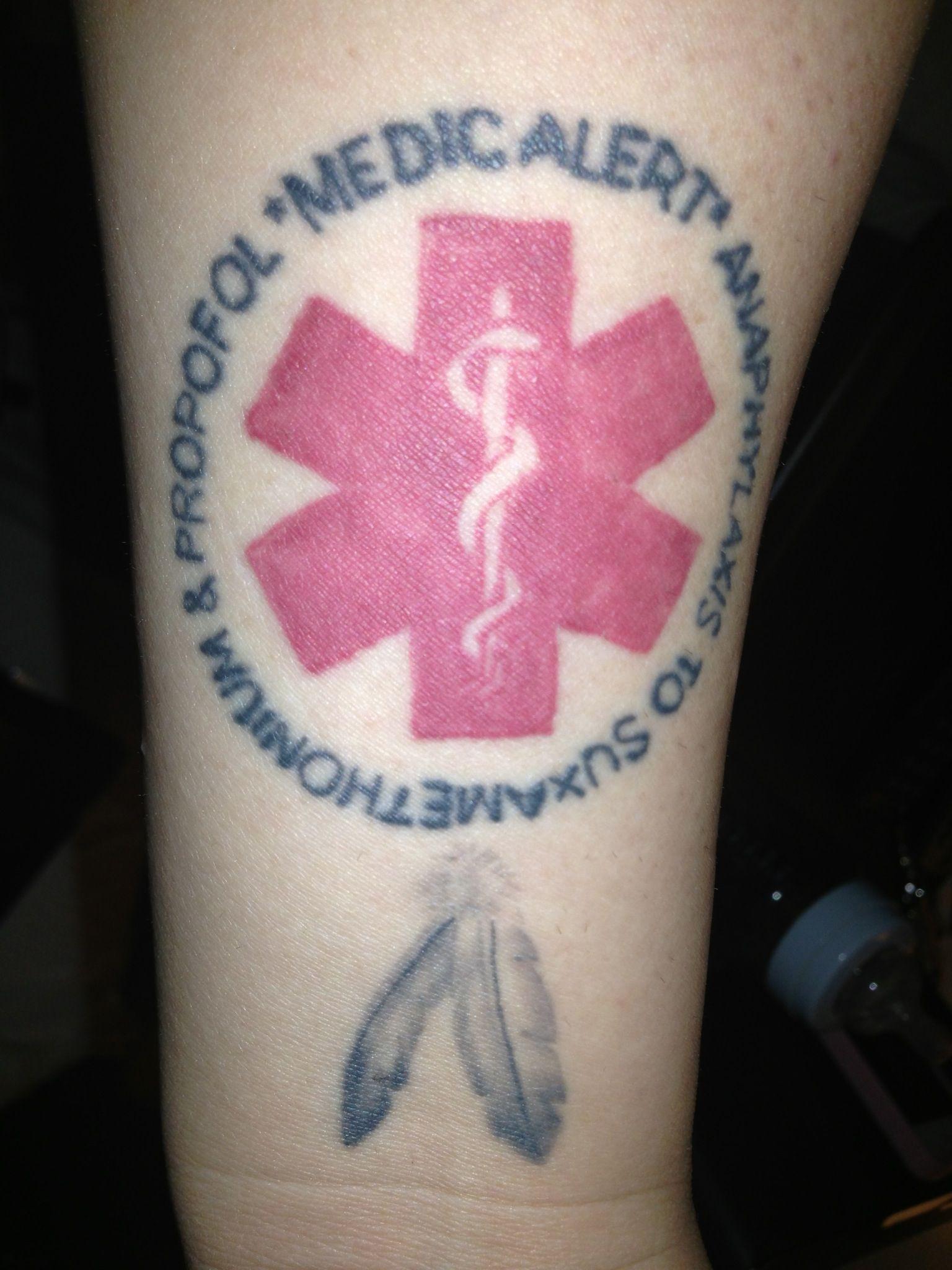 medic alert tattoo forearm
