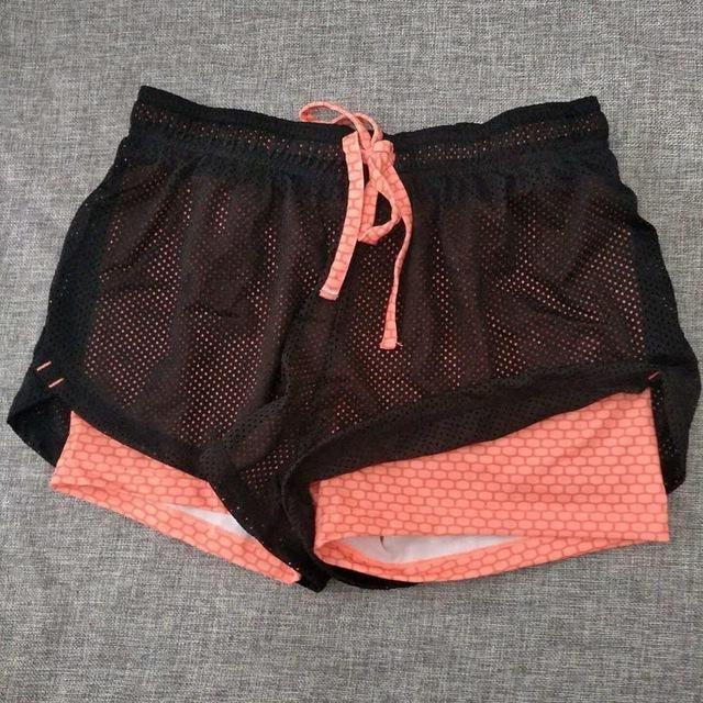 Damen Running Shorts 2 In 1 Sport Gym Yoga Fitness Running Tights Shorts