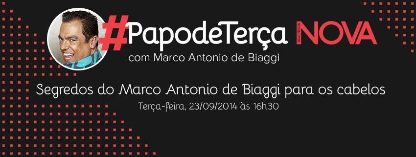 É só você entrar no Facebook da NOVA online amanhã às 16:30h e perguntar tudo o que você quiser para o Marco Antonio de Biaggi. Confirme presença aqui pra gente te lembrar na hora marcada e chame as amigas! #PapodeTerça Não esquece, nós temos um encontro ;) #FacetoFace