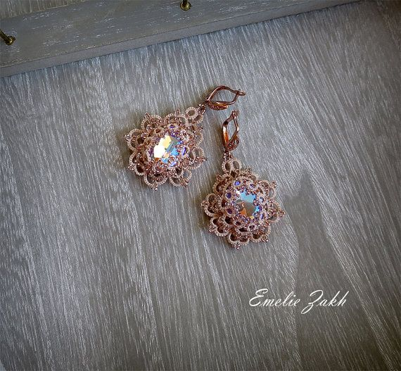 Check out Tatting lace chandelier earrings.Rose clair Earrings ...