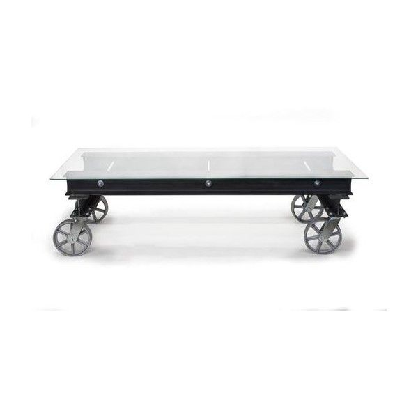 Modern Industrial Glass I Beam Coffee Table With Casters, Coffee... ❤