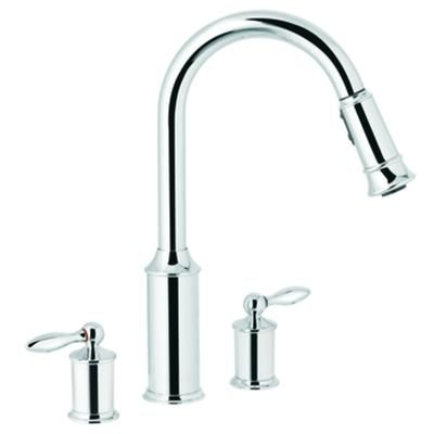 MOEN - Aberdeen 2 Handle Kitchen Faucet with Matching Pulldown Wand ...