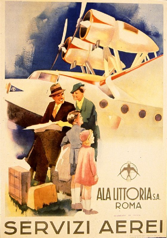Servizi Aerei Ala Littoria S A Roma Aerial Services Ala Littoria S A Rome Poster Designer Unkno Vintage Airline Posters Vintage Travel Posters Retro Poster