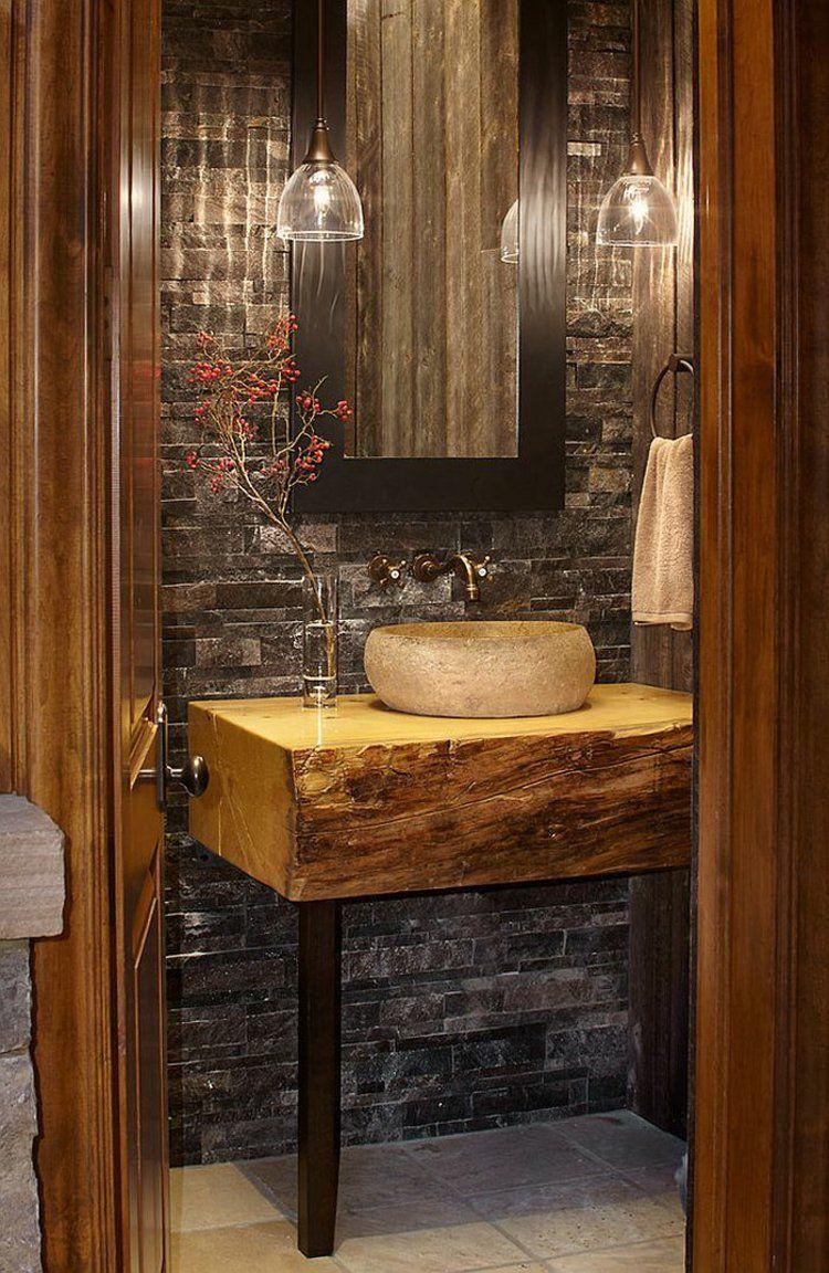 Cool Rustikale Möbel Sammlung Von Waschtisch Aus Naturholz Und Mit Metallbeinen