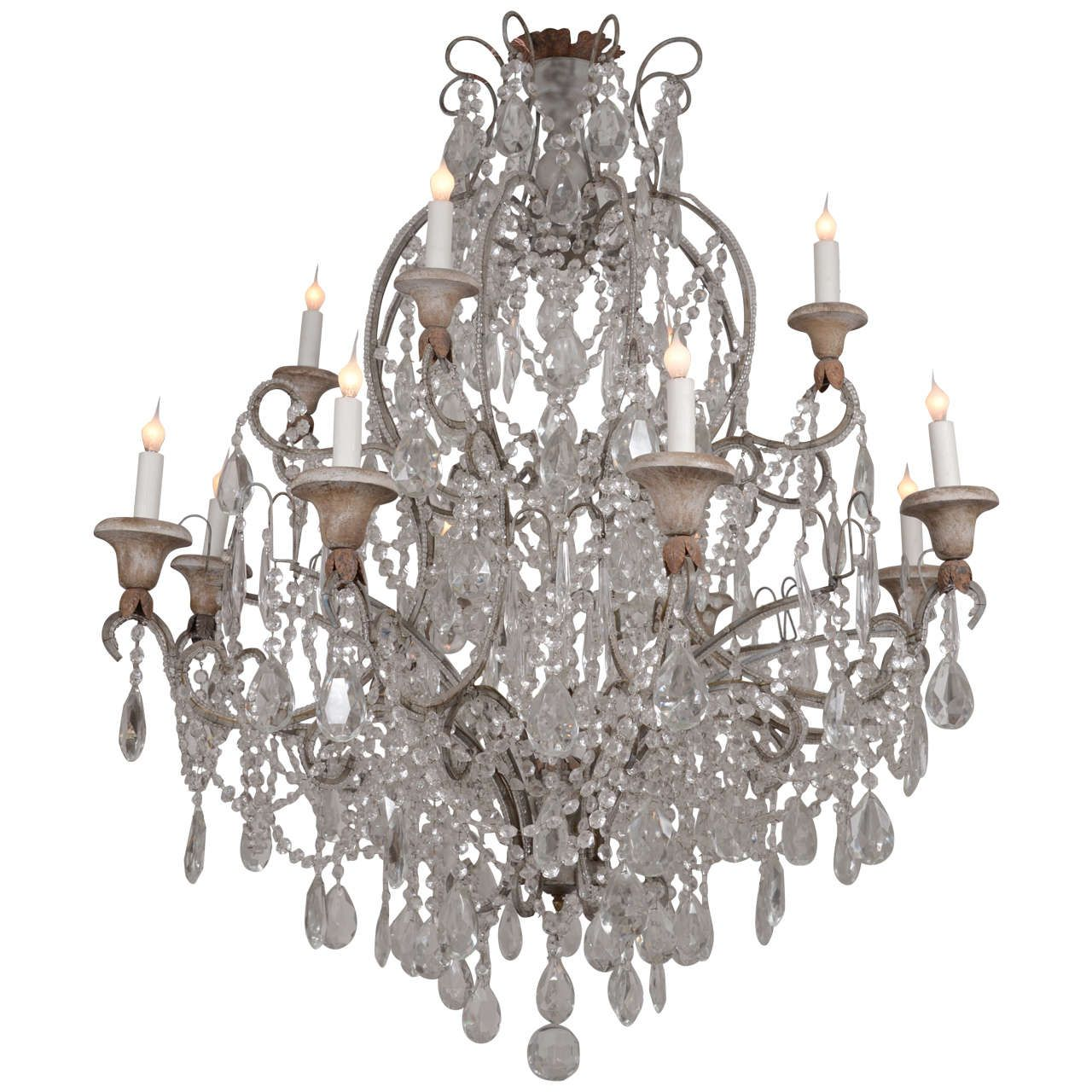 Italian Crystal Chandelier - Antique Italian Chandelier From A Unique Collection Of Antique And