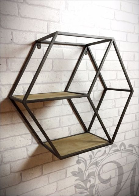 industrial hexagonal shelf storage vintage wall mountable. Black Bedroom Furniture Sets. Home Design Ideas