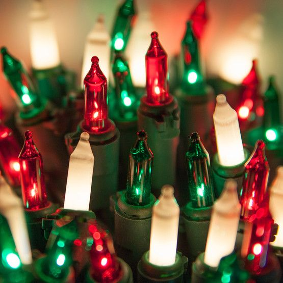Commercial 100 Red, Green, White Frost Christmas Mini Lights, 6 ...