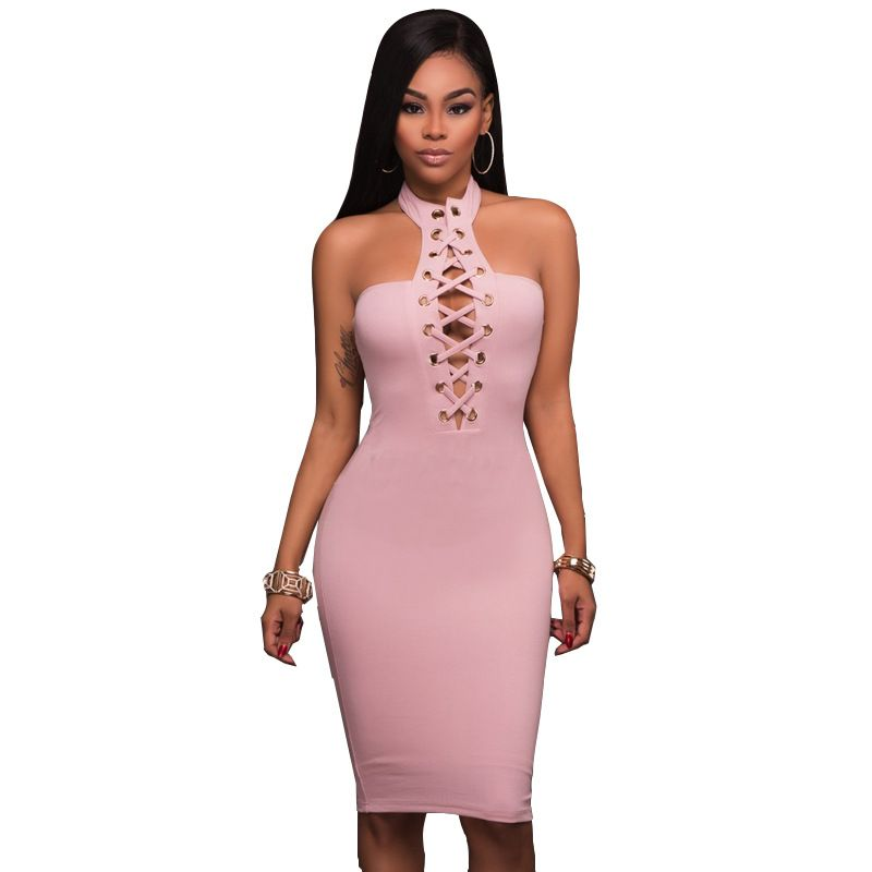 5117208601 Midi Dress Pink Hot Women Keyhole Lace Up Halter Neck Strapless Backless  Sheath Bodycon Sexy Dresses
