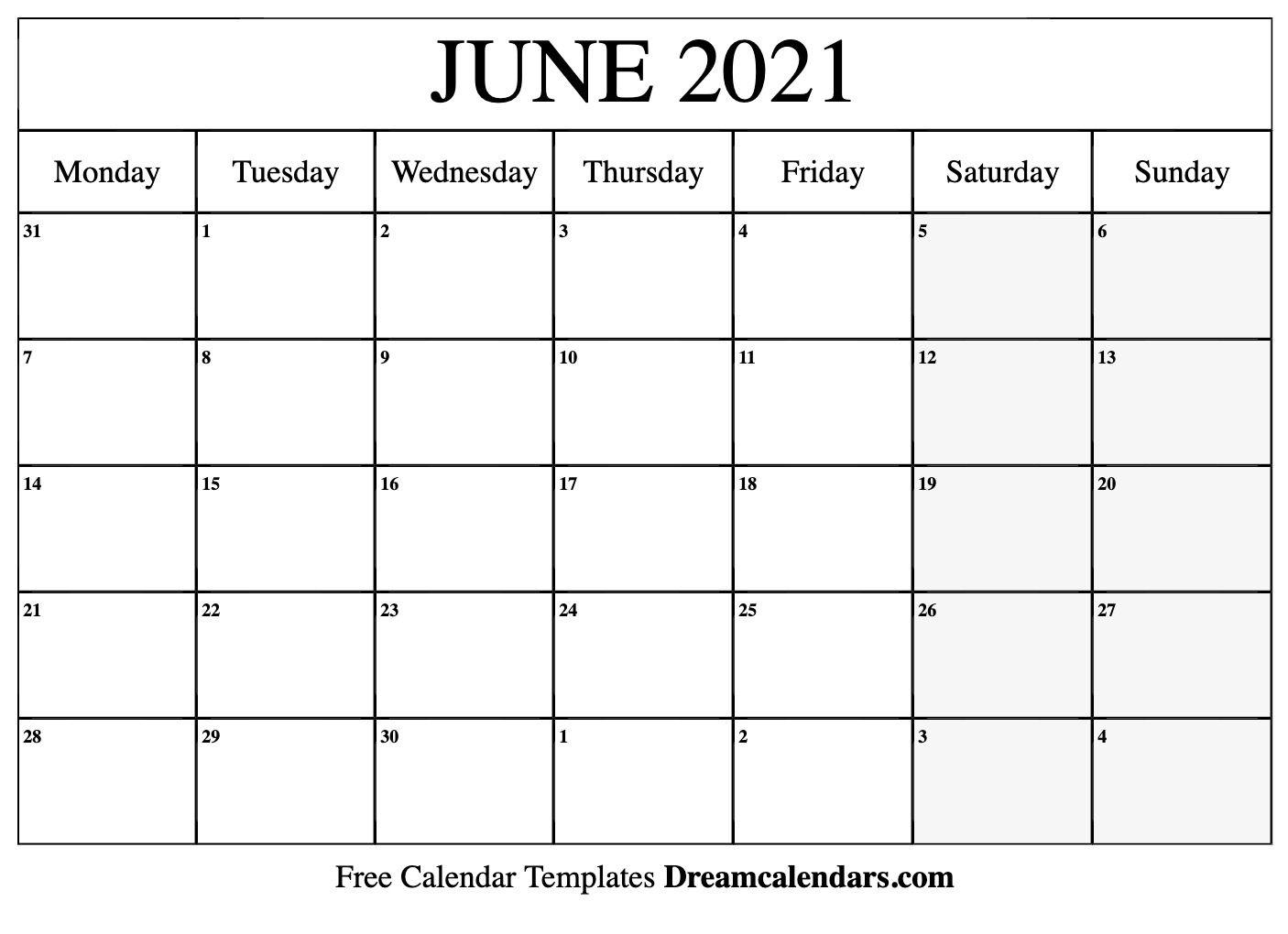 Blank June 2021 Calendar In Printable Format In 2020 Monthly Calendar Printable Calendar Printables Free Printable Calendar Monthly