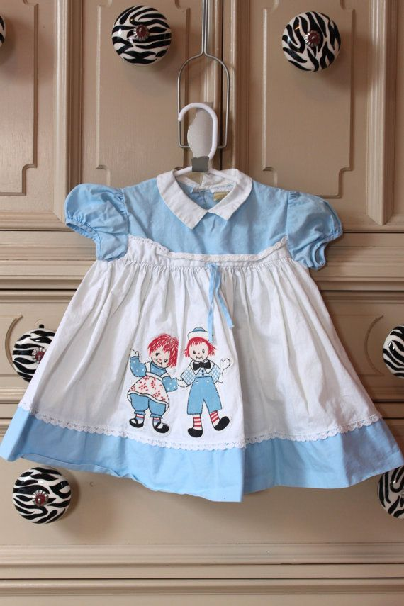Vintage Girls 1960s 60s Raggedy Ann And Andy Dress