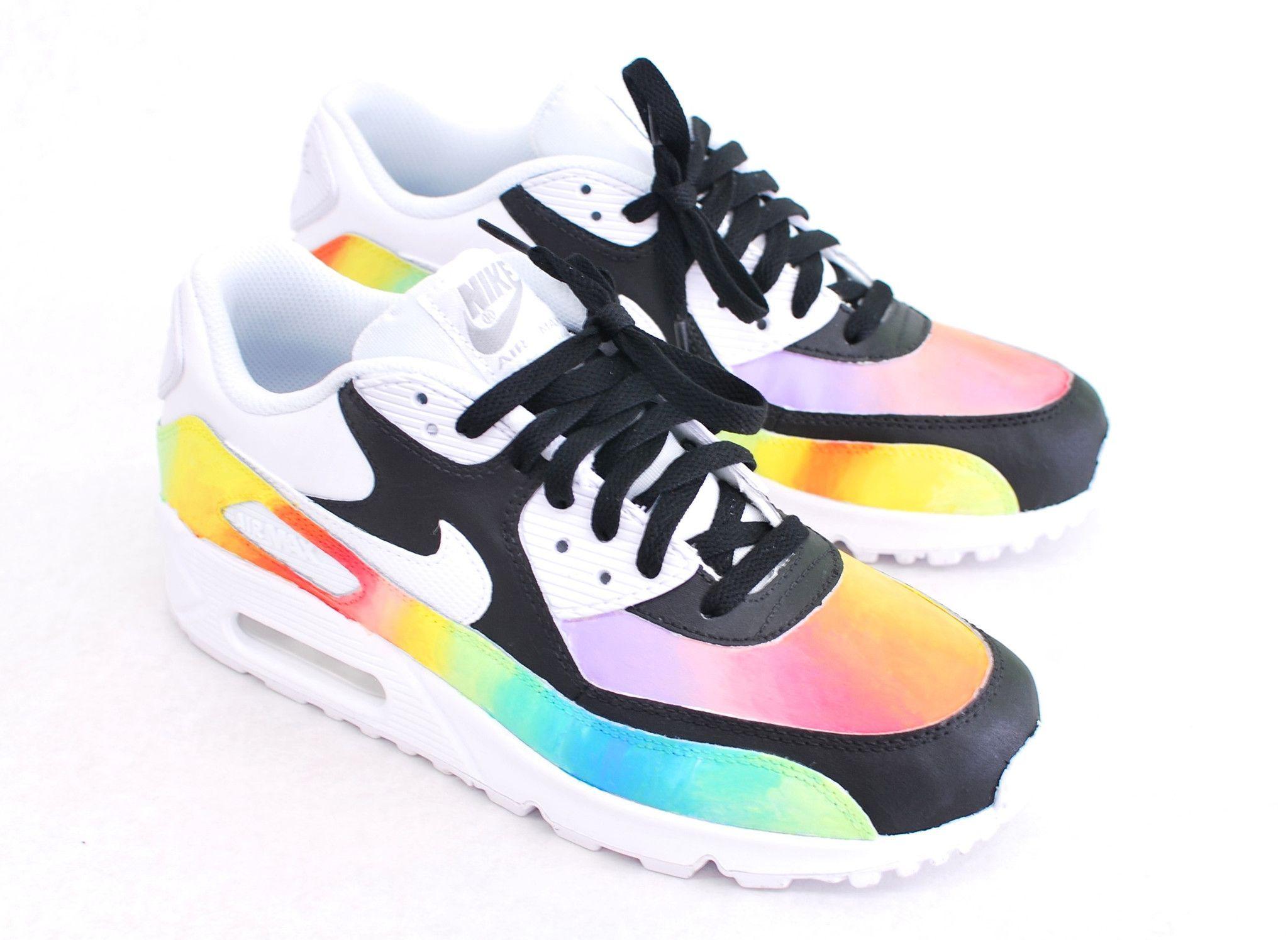 Custom Hand Painted Color Blast Nike Air Max 90 Running Shoe