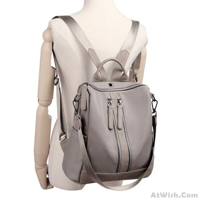 87c451e834a6e Elegant Waterproof Double Zipper PU Multi-function Handbag Large School  Backpack