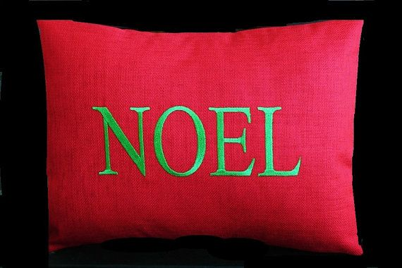 Outdoor Pillow Inserts Monogrammed Outdoor Pillow Cover In Cherry Red  Noel  Christmas