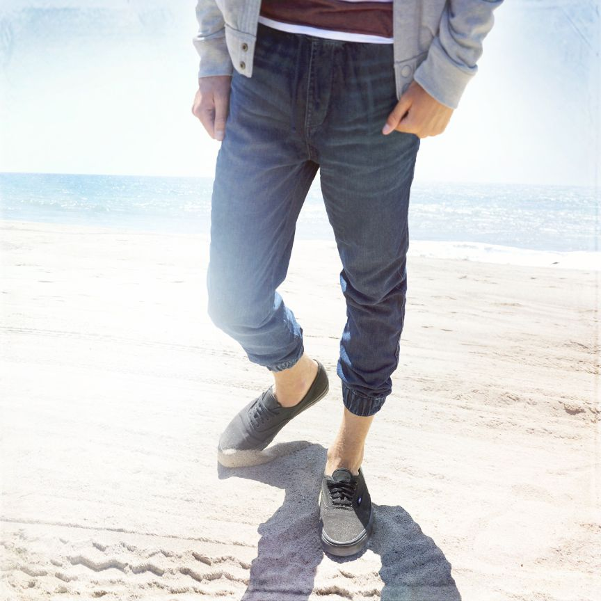 hollister denim jogger pants