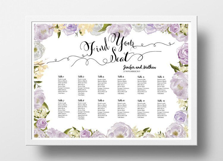 Editable Elegant Wedding Seating Chart Poster Template Printable Table Plan #021 Botanical Floral Seating Chart Printable