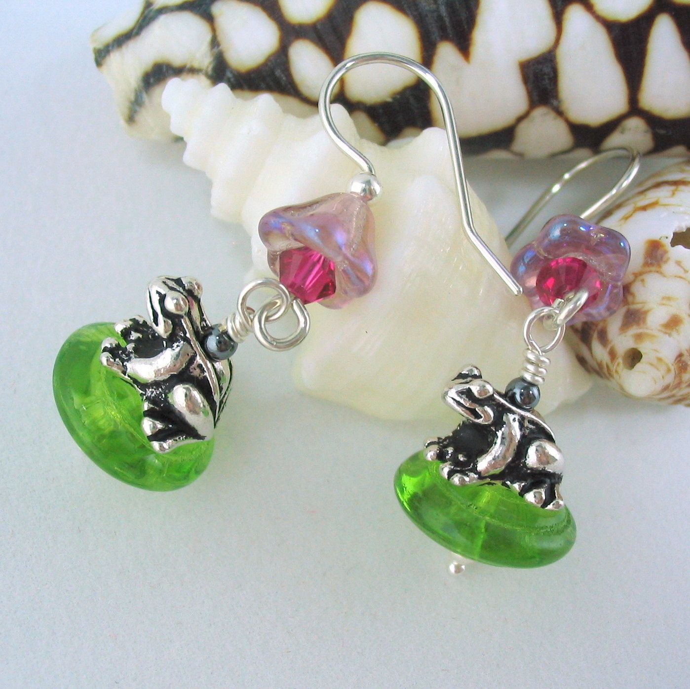 Whimsical Jewelry Silver Enchanted Frog Earrings. 26.00