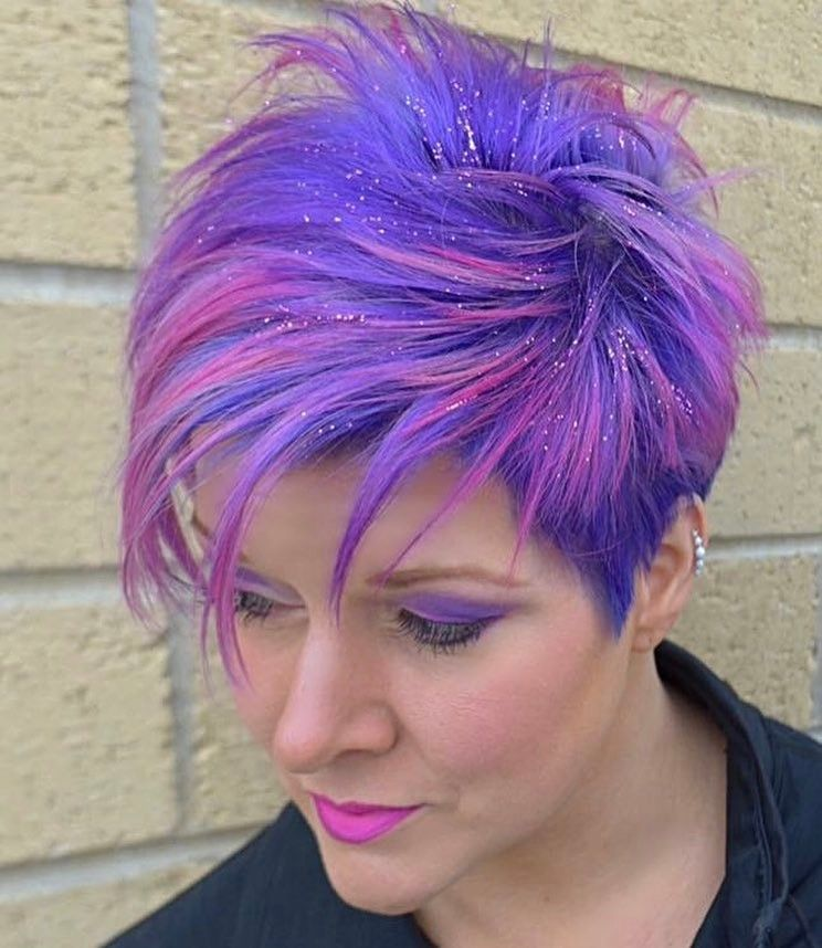 Short Sassy Purple Pink Pixie Hair Styles Creative Hair Color Cool Hair Color