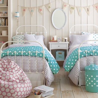 Kids Aqua Medallion Design - love the name banners above the beds