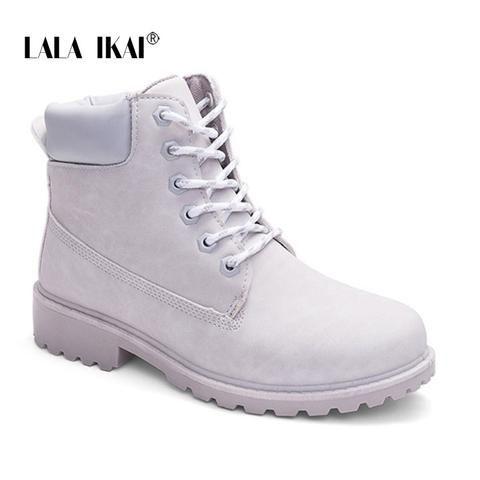 9481a1b6f094 LALA IKAI PU Nubuck Snow Boots Women Plus Size Ankle Boots Round Toe Low  Heel Fur Velvet Platform Winter Boots 014N0882 -35