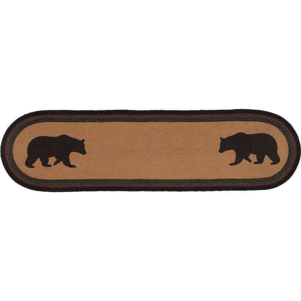 Best Wyatt Bear Braided Runner 13X36 Bear Stencil Black 400 x 300