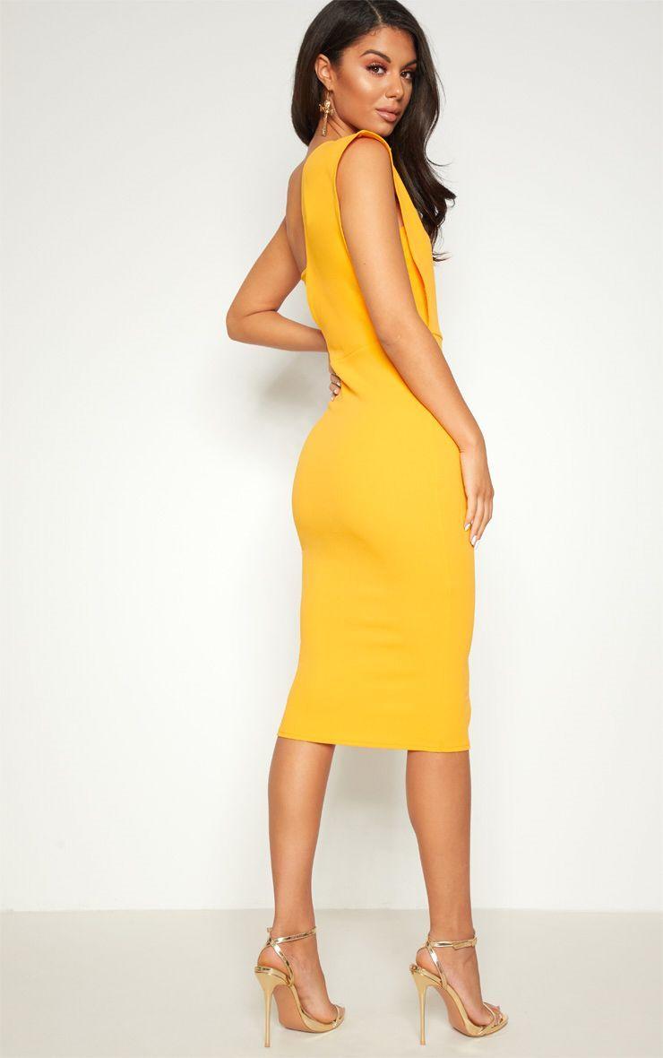 8998c43800f2 Yellow One Shoulder Draped Midi Dress in 2019 | women's fashion ...