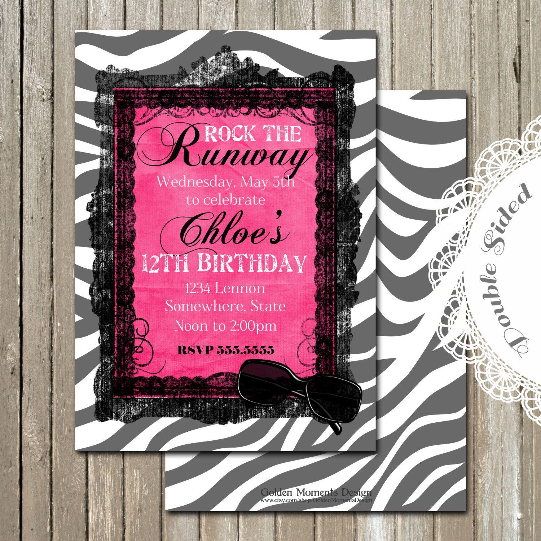 Fashion Show Birthday Party Invitation, Runway Birthday Party ...